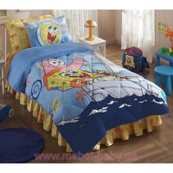 Покрывало хлопковое подростковое Tac Disney - Sponge Bob Boat 160x220