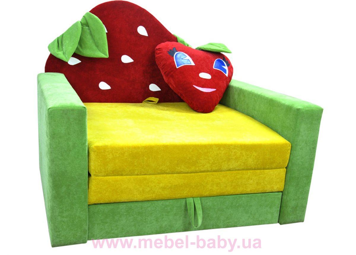 Диван большой детский раскладной малютка клубничка Ribeka желто-салатовый