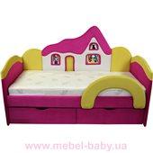 Детская кроватка-диванчик с ортопедическим матрасом домик  Ribeka 70x160 розовый