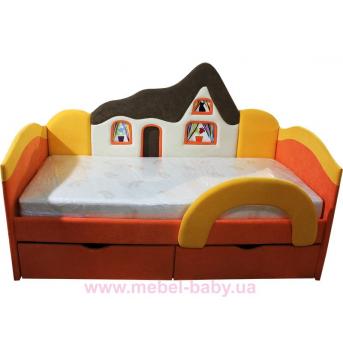 Детская кроватка-диванчик с ортопедическим матрасом домик  Ribeka 70x160 оранжевый