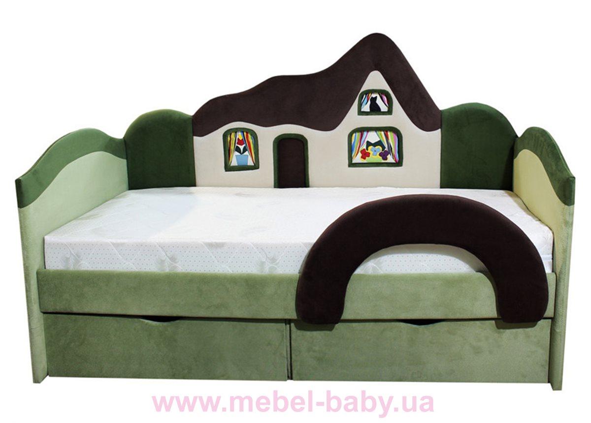 Детская кроватка-диванчик с ортопедическим матрасом домик  Ribeka 70x160 зеленый