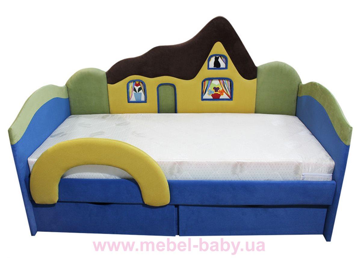 Детская кроватка-диванчик с ортопедическим матрасом домик  Ribeka 70x160 синий