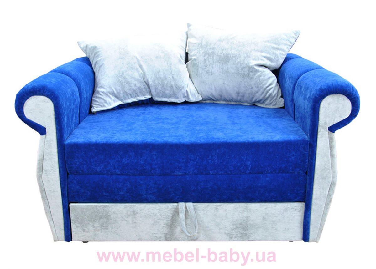 Диван классический прямой раскладной выкатной малютка классик  Ribeka синий
