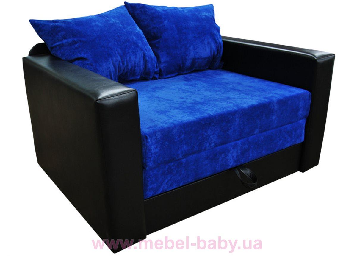 Диван большой раскладной выкатной малютка нова с подлокотниками Ribeka черно-синий