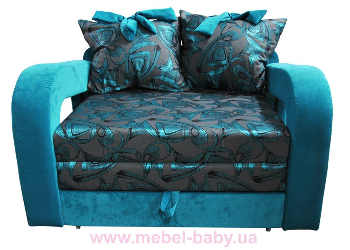Диван красивая раскладная малютка барби с подлокотниками и бантами на подушках Ribeka бирюзовый