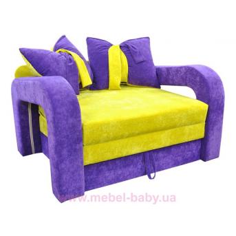 Диван красивая раскладная малютка барби с подлокотниками и бантами на подушках Ribeka фиолетово-желтый