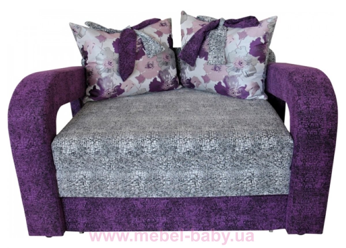 Диван красивая раскладная малютка барби с подлокотниками и бантами на подушках Ribeka фиолетово-серый