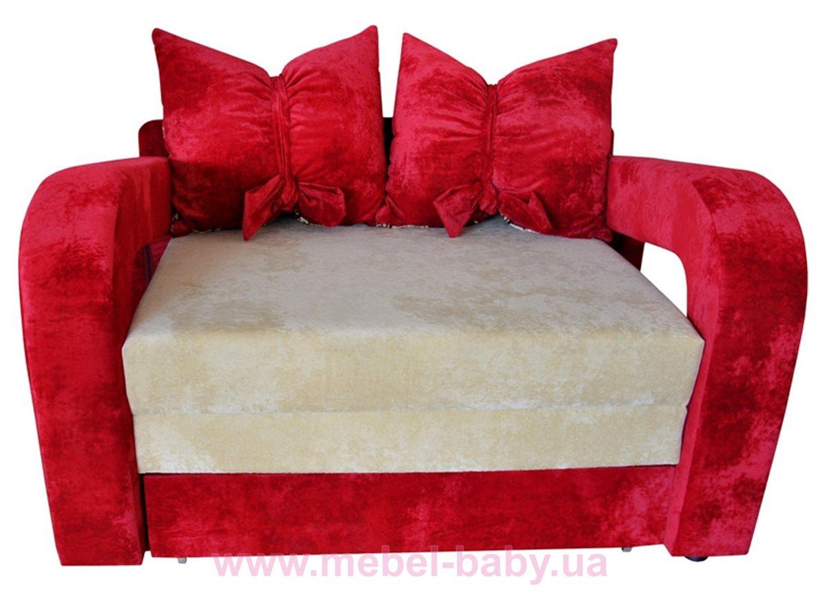 Диван красивая раскладная малютка барби с подлокотниками и бантами на подушках Ribeka красно-бежевый
