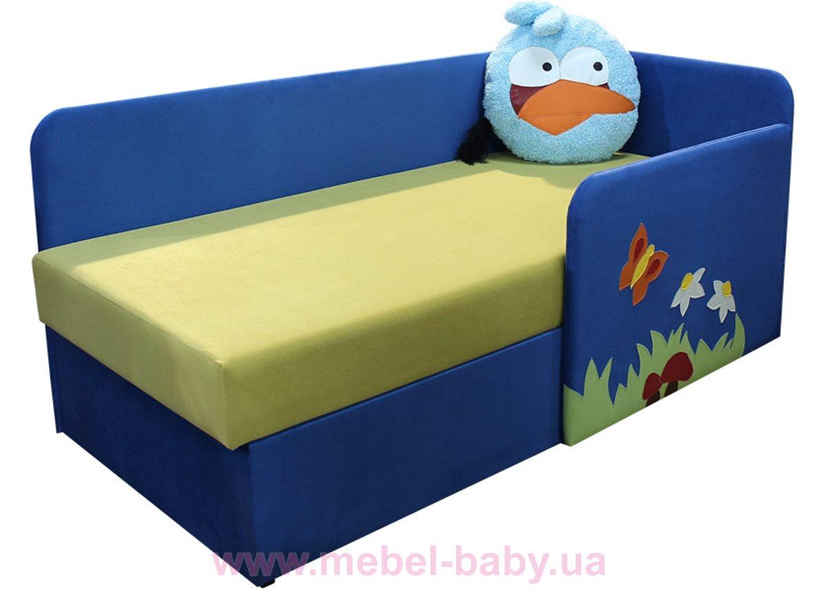 Детский угловой диванчик с бортиком энгри бёрдс синий Ribeka