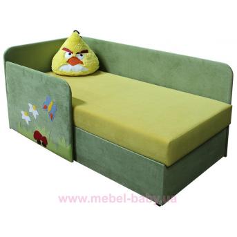 Детский угловой диванчик с бортиком энгри бёрдс чак Ribeka