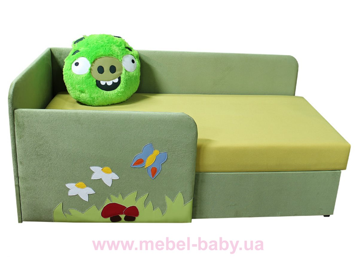 Детский угловой диванчик с бортиком энгри бёрдс свин Ribeka