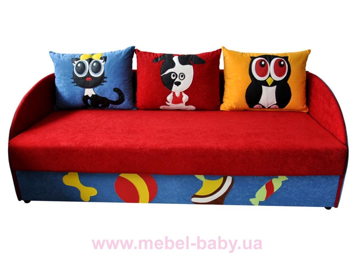 Детский диванчик с нишей и веселыми аппликациями мультик 2 Ribeka