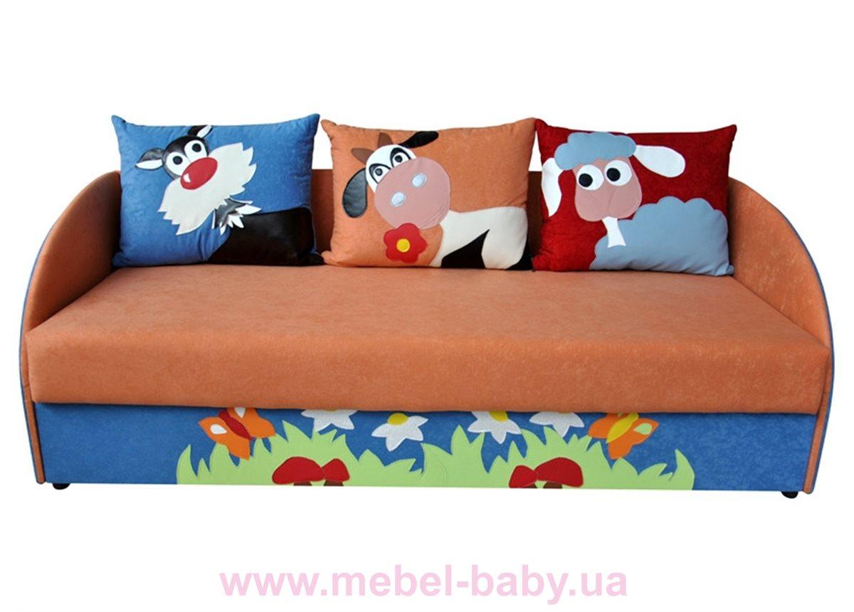 Детский диванчик с нишей и веселыми аппликациями мультик 1 Ribeka