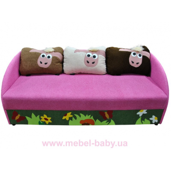 Детский диванчик с нишей и веселыми аппликациями мультик 4 Ribeka