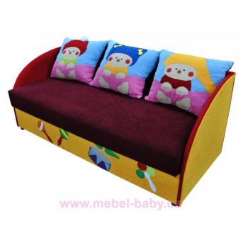 Детский диванчик с нишей и веселыми аппликациями мультик 3 Ribeka
