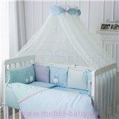 Набор постельного белья Зайчики голубой (7 предметов) Маленькая Соня