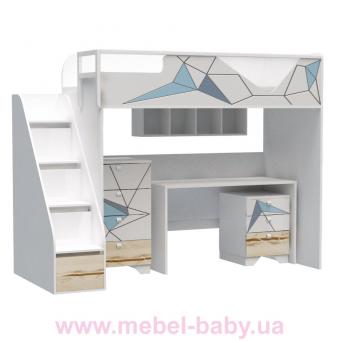 Кровать-чердак со столом O-M-003 Origami Эдисан 90x190 белый
