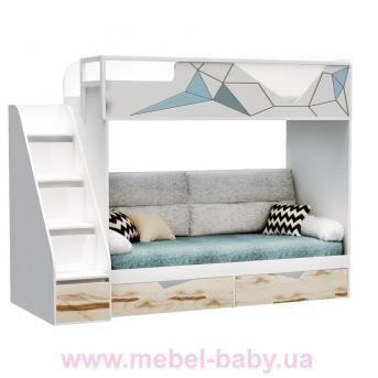 Двухъярусная кровать-диван O-M-004 Origami Эдисан 90x190 белый