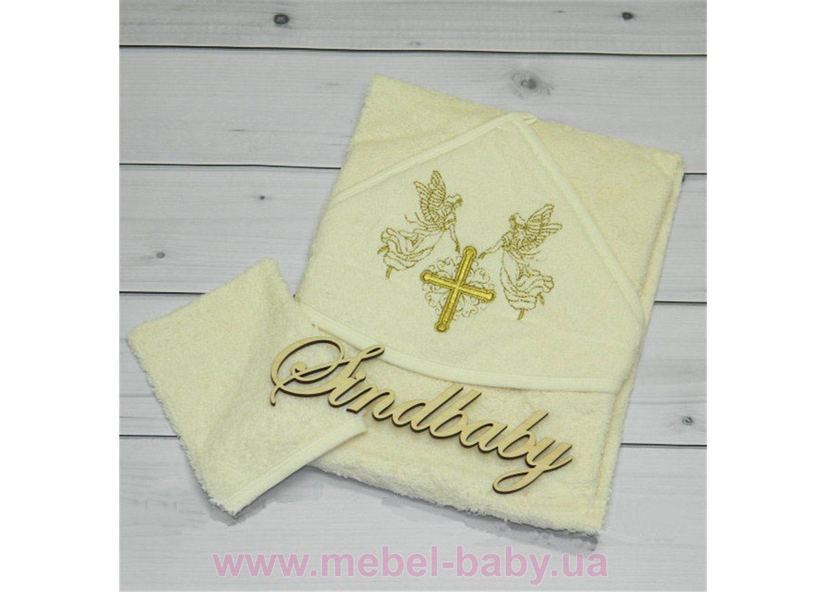 Крыжма, крестильное полотенце с уголком - 03 Sindbaby Белая