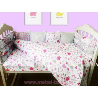 """Комплект в кроватку 120*60 комбинированный """"Сердца"""" (6 ед) VIALL цветной"""