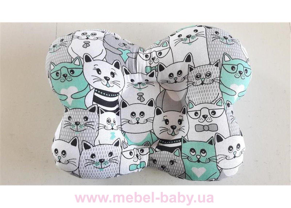 Подушка ортопедическая (для новорожденных) мятные коты 25x30 VIALL