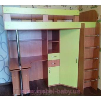 Кровать-чердак с выдвижным столом и угловым шкафом (к1) Мерабель 80x190