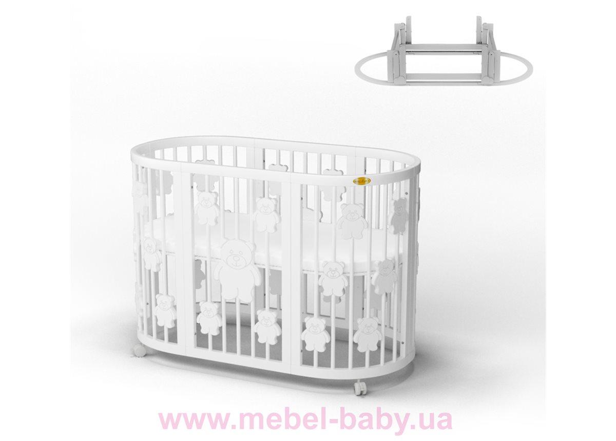 Кроватка BAGGYBED ROUND 9-в-1 с мишками с маятником IngVart белый 72x72