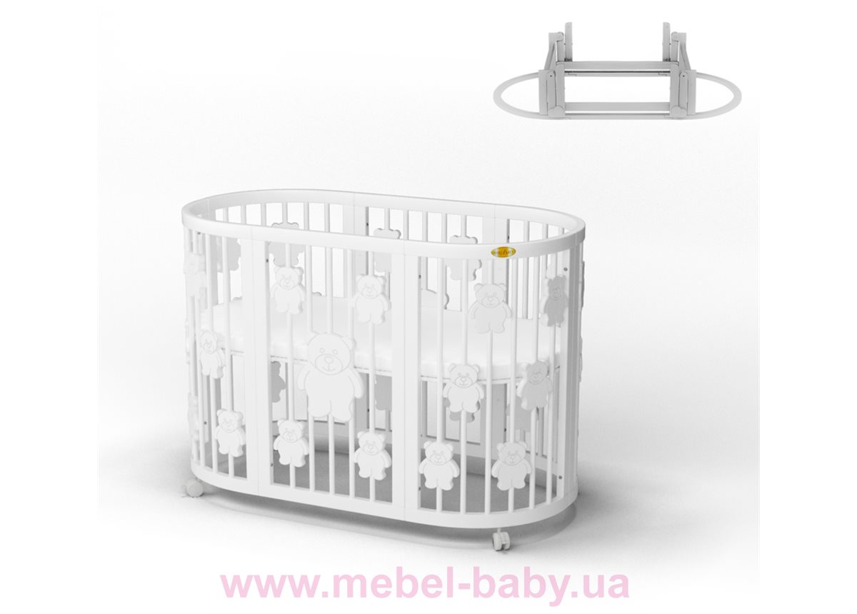 Кроватка SMARTBED ROUND 9-в-1 с мишками с маятником IngVart белый 72x72