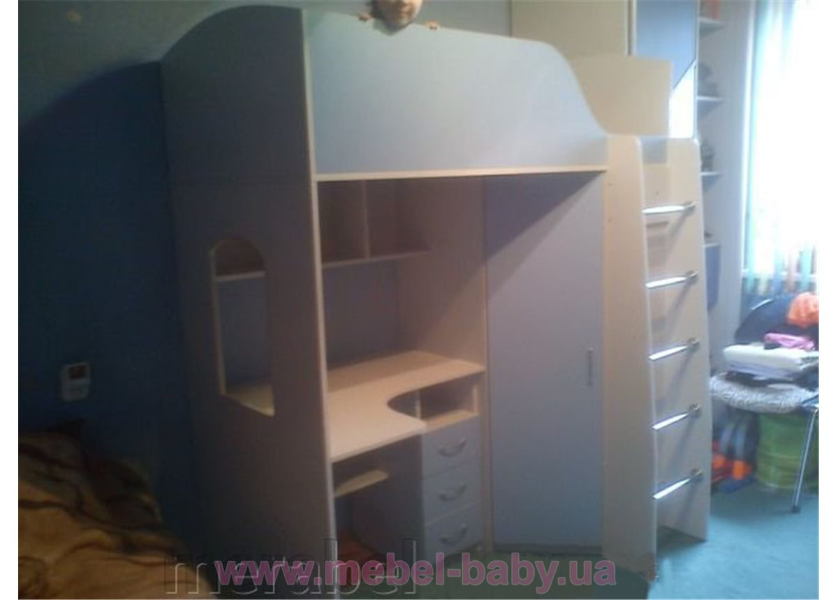 Кровать-чердак с рабочей зоной и угловым шкафом (к2) Мерабель 80x160