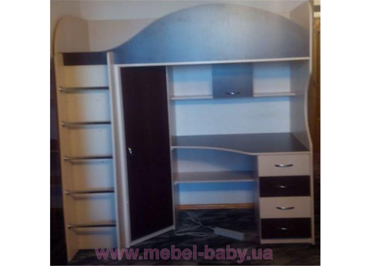 Кровать-чердак с рабочей зоной и угловым шкафом (к5) Мерабель 80x190