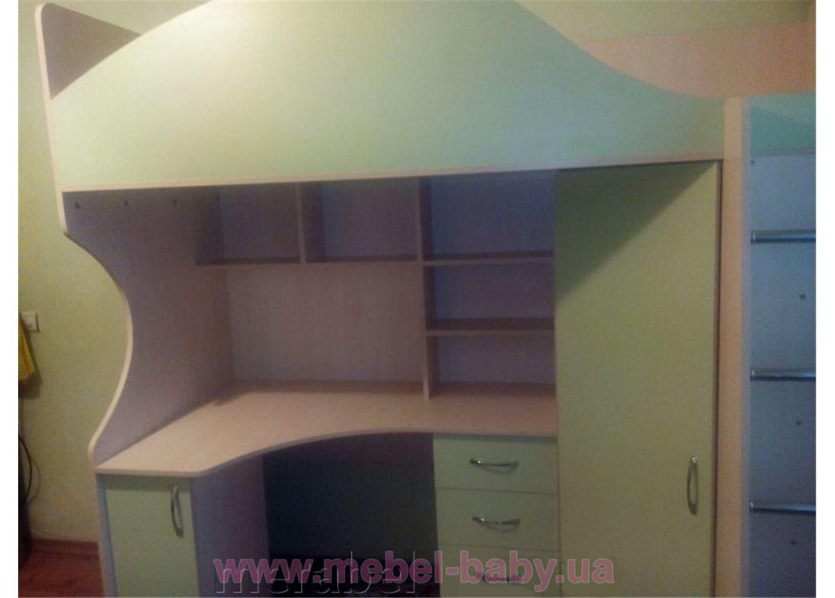 Кровать-чердак с рабочей зоной и угловым шкафом (к6) Мерабель 80x190