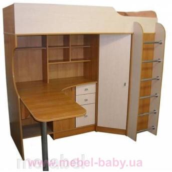 Кровать-чердак с рабочей зоной и угловым шкафом (к10) Мерабель 80x190