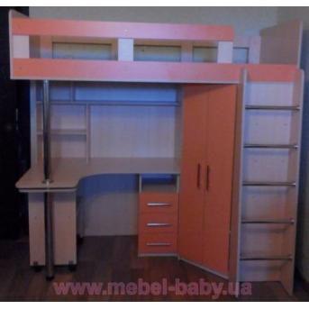 Кровать-чердак с выдвижным столом и угловым шкафом (к26) Мерабель 80x190