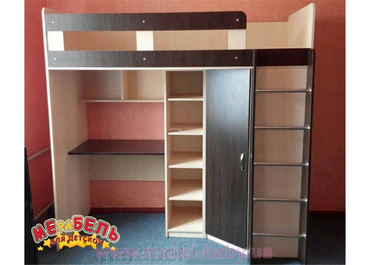 Кровать-чердак с рабочей зоной, угловым шкафом и полками (к7) Мерабель 80x190