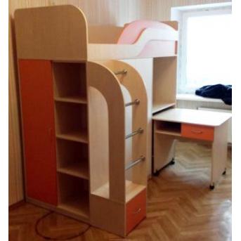 Кровать-чердак с выдвижным столом, шкафом, полками и пеналом (к8) Мерабель 80x190