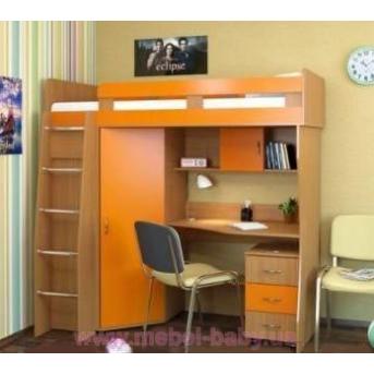 Кровать-чердак с рабочей зоной и угловым шкафом (к11) Мерабель 80x190