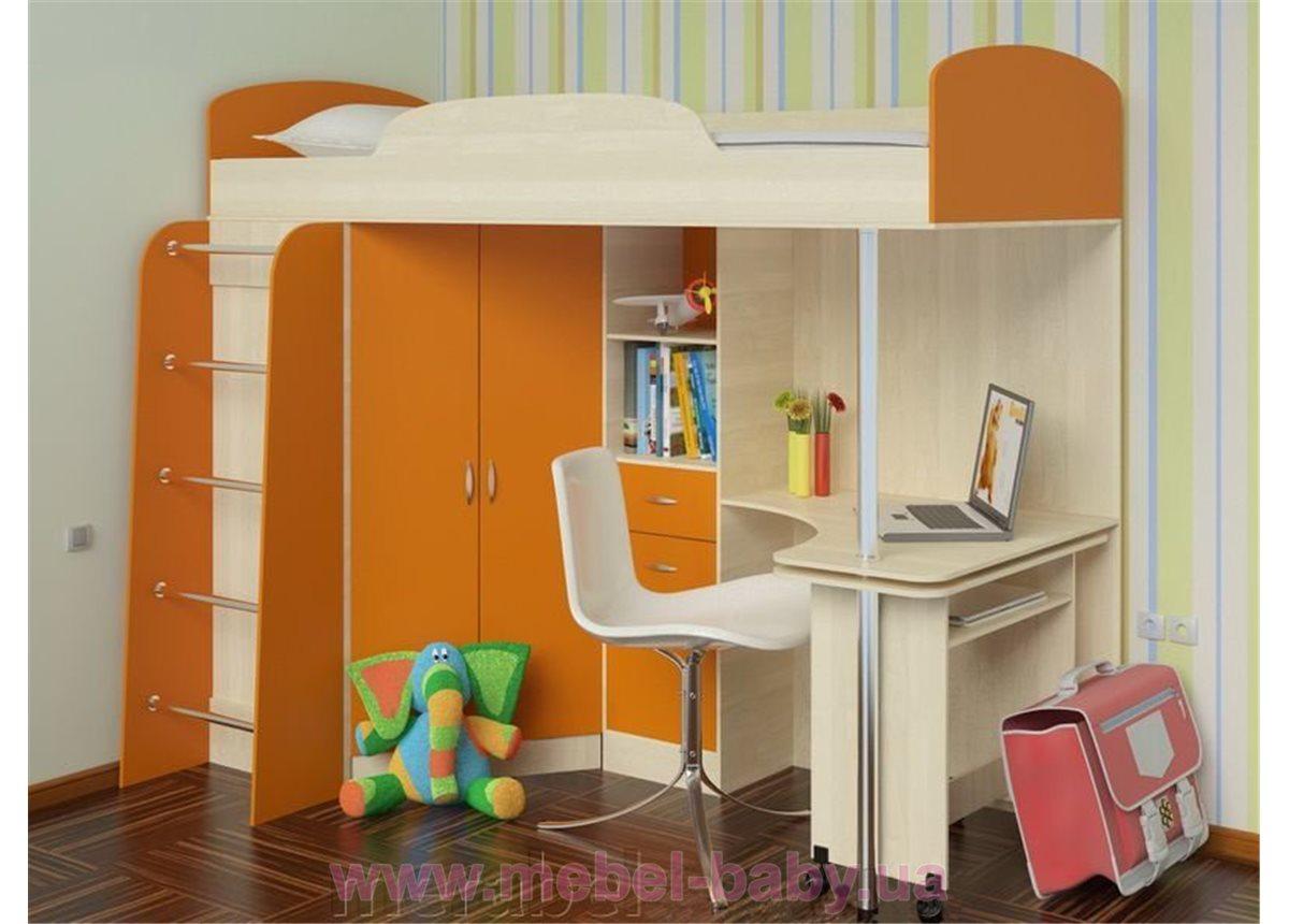 Кровать-чердак с выдвижным столом и угловым шкафом (к16) Мерабель 80x190