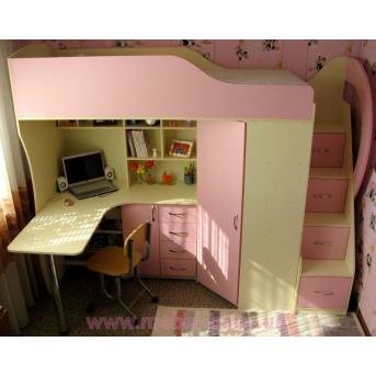 Детская кровать-чердак с рабочей зоной, угловым шкафом, тумбой и лестницей-комодом (кл21) Мерабель 80x190