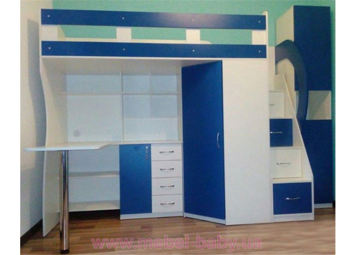 Детская кровать-чердак с рабочей зоной, угловым шкафом, тумбой и лестницей-комодом (кл21-16) Мерабель 80x190
