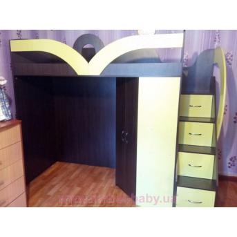 Кровать-чердак с угловым шкафом и лестницей-комодом (кл26) Мерабель 80x190