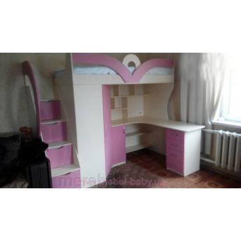 Детская кровать-чердак с рабочей зоной, угловым шкафом, тумбой и лестницей-комодом (кл27-4) Мерабель 80x190