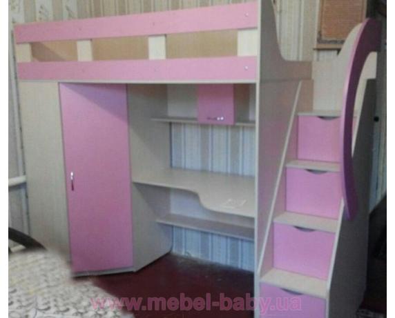 Кровать-чердак с рабочей зоной, угловым шкафом и лестницей-комодом (кл29-3) Мерабель 80x190