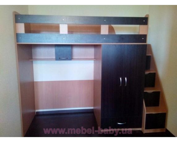 Кровать-чердак со шкафом и лестницей-комодом (кл30) Мерабель 80x190