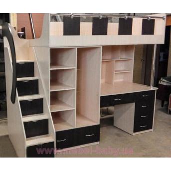 Кровать-чердак с рабочей зоной, шкафом и лестницей-комодом (кл31-2) Мерабель 80x190