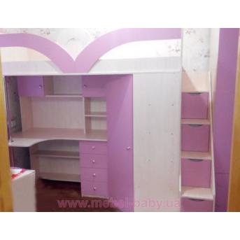Кровать-чердак с рабочей зоной, угловым шкафом и лестницей-комодом (кл32) Мерабель 80x190