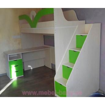 Кровать-чердак с мобильным столом и лестницей-комодом (кл33) Мерабель 80x190
