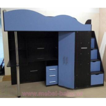 Детская кровать-чердак с рабочей зоной, угловым шкафом, тумбой и лестницей-комодом (кл36) Мерабель 80x190