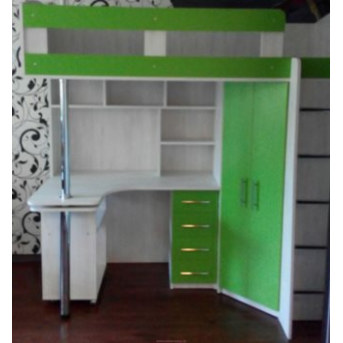 Кровать-чердак с выдвижным столом и угловым шкафом (к26-4) Мерабель 80x190