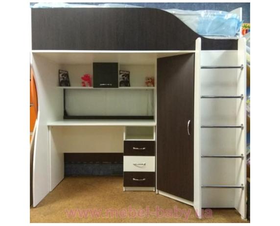 Кровать-чердак с мобильным столом и угловым шкафом (к9) Мерабель 80x190