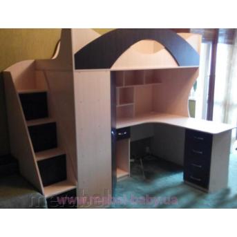 Детская кровать-чердак с рабочей зоной, угловым шкафом, тумбой и лестницей-комодом (кл27-5) Мерабель 80x190